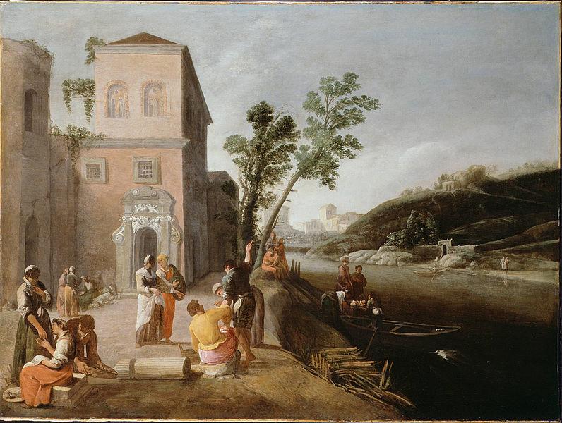 Canvas Art Prints Fabric Wall <font><b>Decor</b></font> Giclee Oil Painting <font><b>Italian</b></font> - Figures On The Bank Of A River