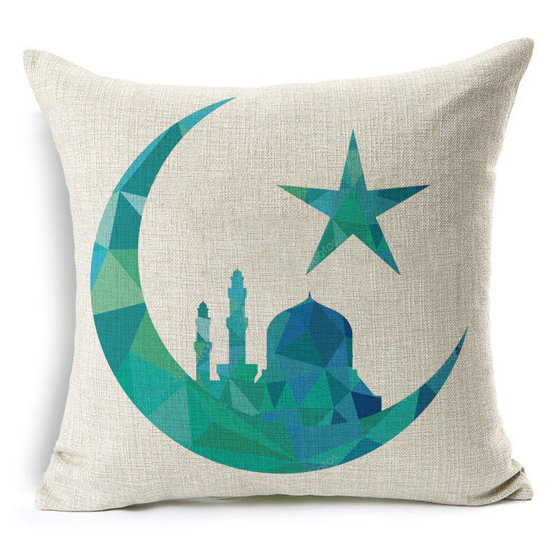 Ramadan Eid moubarak Kareem housse de coussin peinture lune étoiles lanterne mosquée coussin couvre Beige taie d'oreiller en lin