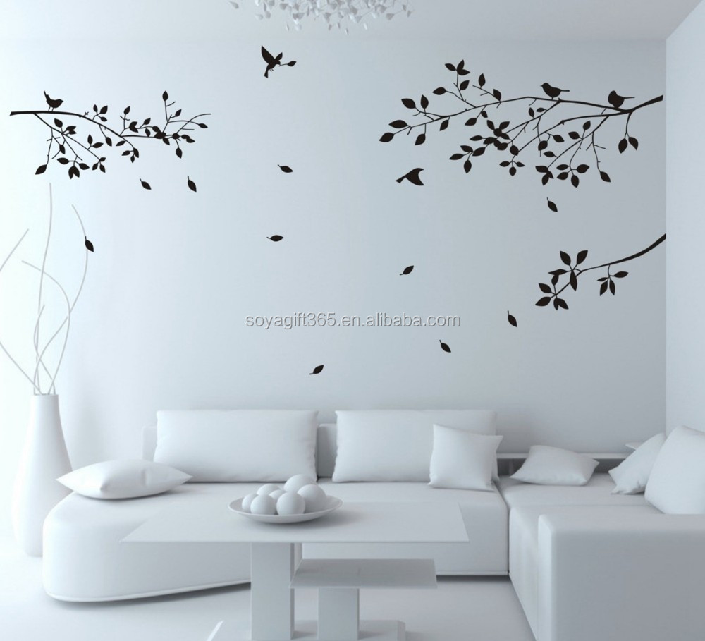 Black Tree Branches Birds Leaves Home Wall Stickers Living Room Decals