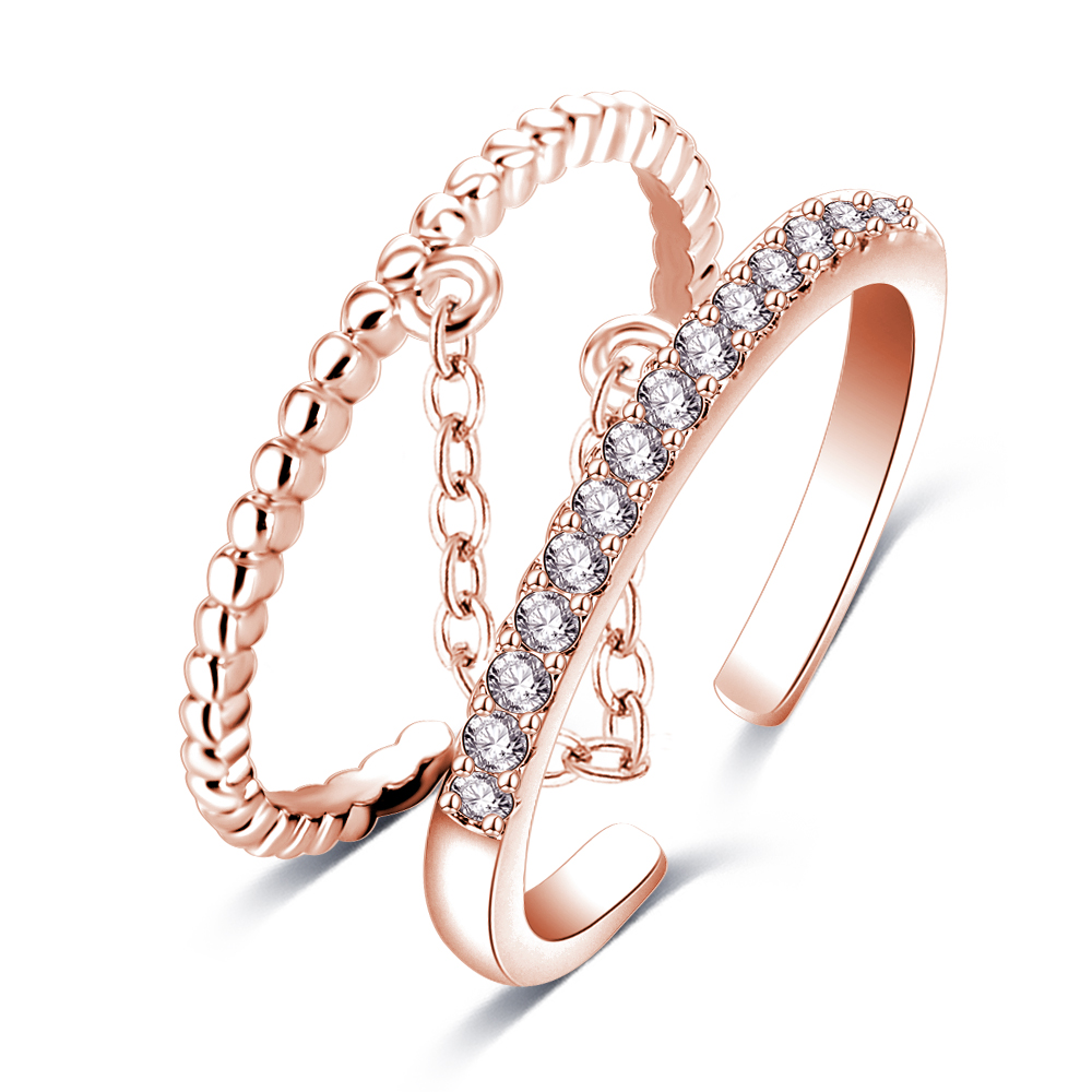 Trendy Handcuffs Eternal Love Connection Ring White / Rose Gold Plated Rings For Women 18K Tiny Paved CZ Diamond Jewelry CRI1053