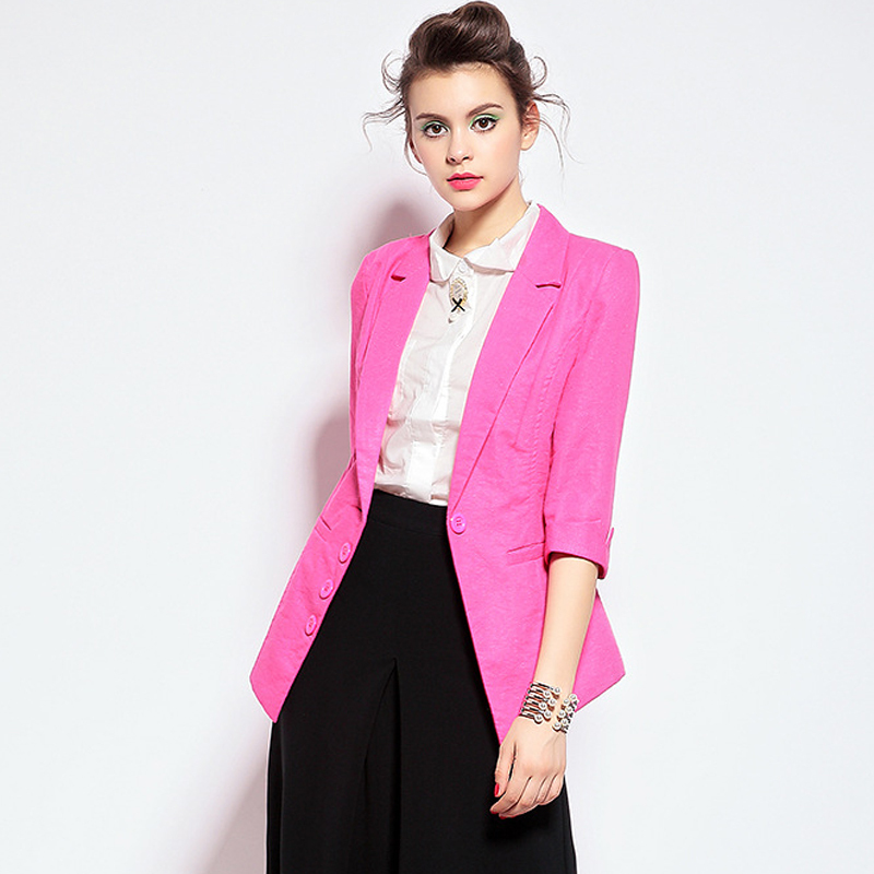 29e2d69e81 Buy Laluna 2015 Spring Autumn Blazer Women Candy Color Single Breasted  Outwear Ladies Blazer Feminino Half Sleeve Chaquetas Mujer in Cheap Price  on ...