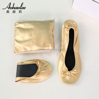 Cheap popular Sweet foot relaxing roll up flats foldable shoes