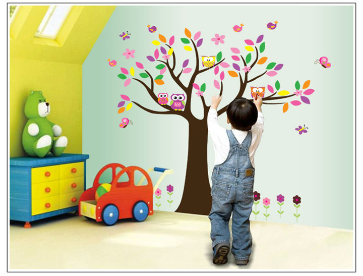 Art Warm Decoration Owl Stand In The Tree Wall Sticker Home Decoration For Kids Room/Kindergarten CT123