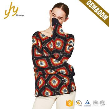 Yuhanya Custom Pattern Cuff Rib Decoration Loose Crochet Sweater