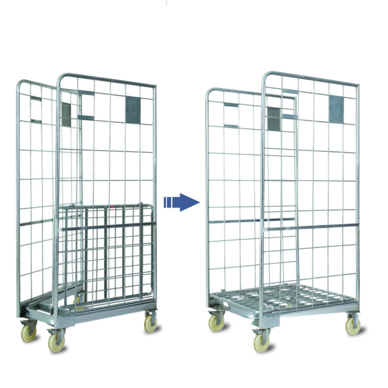 Supermarkt Magazijn Cargo Display Opslag Roll Container Kooi Hand Trolley