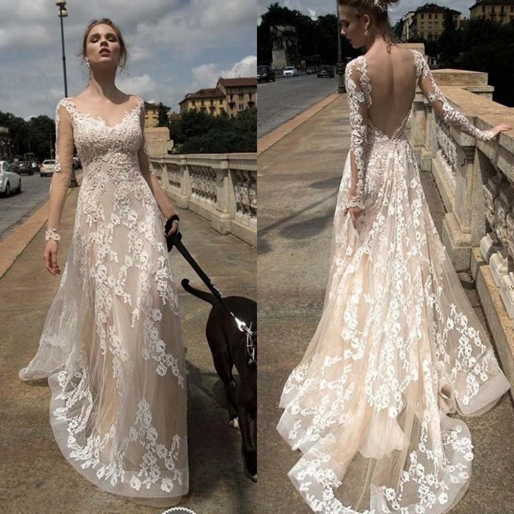 Wedding Gowns Open Back: Sexy Back Open Appliqued Beach Wedding Dresses 2016