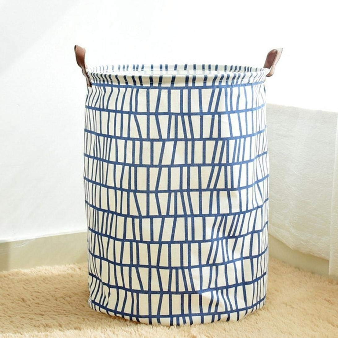 YJYDADA Cotton Linen Waterproof PE Coating Storage Basket Sundries Storage Box (Blue)