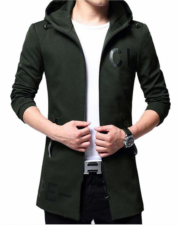 WSPLYSPJY Mens Autumn Long Sleeve Hip Hop Slim Fit Open Front Hooded Cardigan
