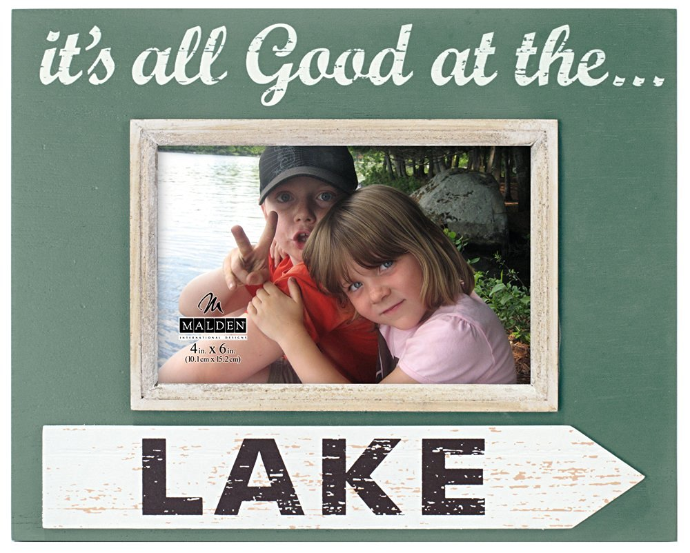 Malden International Designs Distressed Silkscreened Outdoor Life it's All Good at The Lake Wood with Wood attachment Picture Frame, 4x6, Green