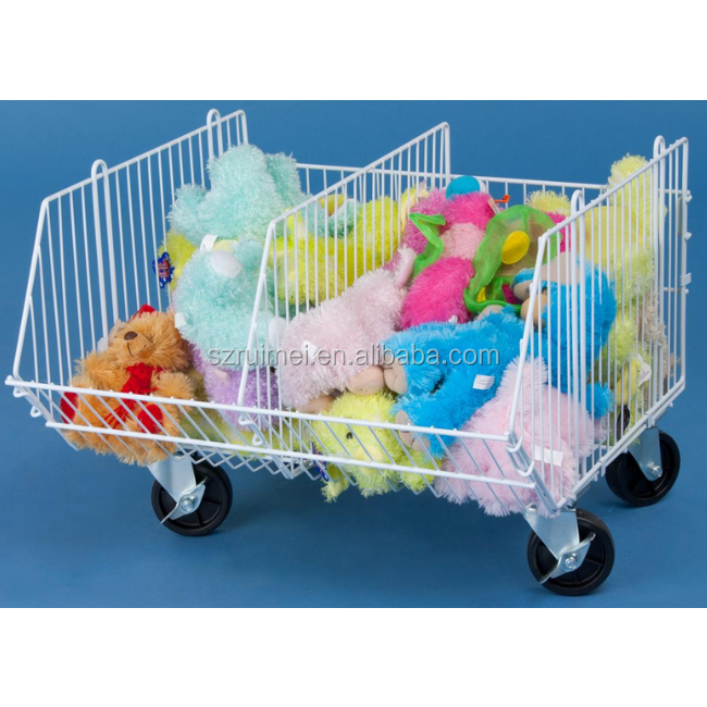Customized Wire Dump Bin White Wheels Removable Toy Stand Rack
