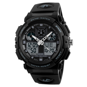 SKMEI 1270 analog digital sports watch waterproof alarm cheap black watch men fashion
