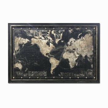 Hot Selling World Map Frame Canvas Prints With Three Models Led Fiber