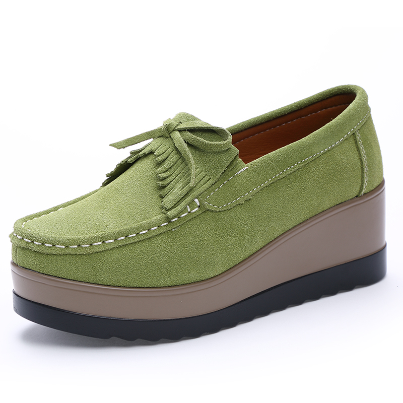 65ad85673937 women flat platform loafers shoes suede leather casual Wedges shoes slip on flats  Moccasin shoes ladies