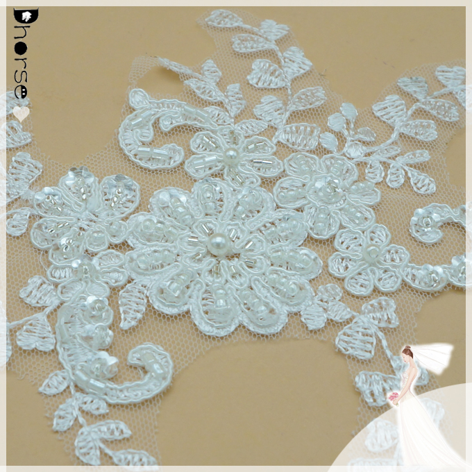 """4/"""" GREEN  Netting Beads and Sequins Appliques 2 pieces"""