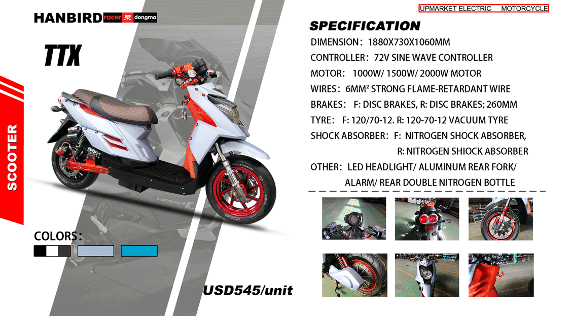 High Quality Cheap 3000w Electric Scooter Motorcycle with Disc Brakes