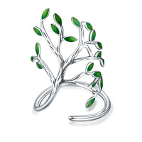 ATHENAA Innovative Green Tree 925 Sterling Silver Open Ring Fancy Jewelry