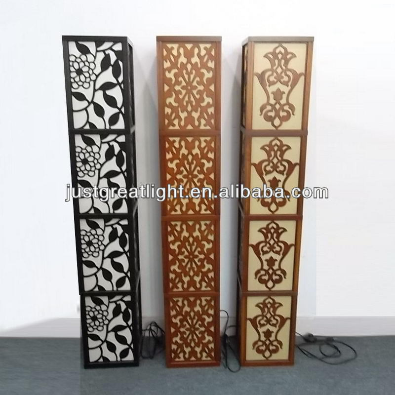 Carved Standing Floor Lamp Wood For Hotel Decoration