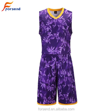 China Fabrik Sublimation Dry Fit Custom Kurzen Ärmeln Blank <span class=keywords><strong>Basketball</strong></span> Lila Farbe