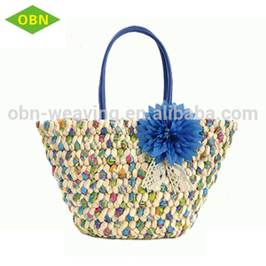 Girl shoulder summer beach straw handbag