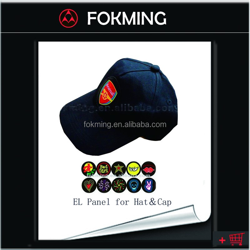 Sound actived EL hats with animated logo/2016-Euro-World-Football-Fan-Baseball Cap and Hat