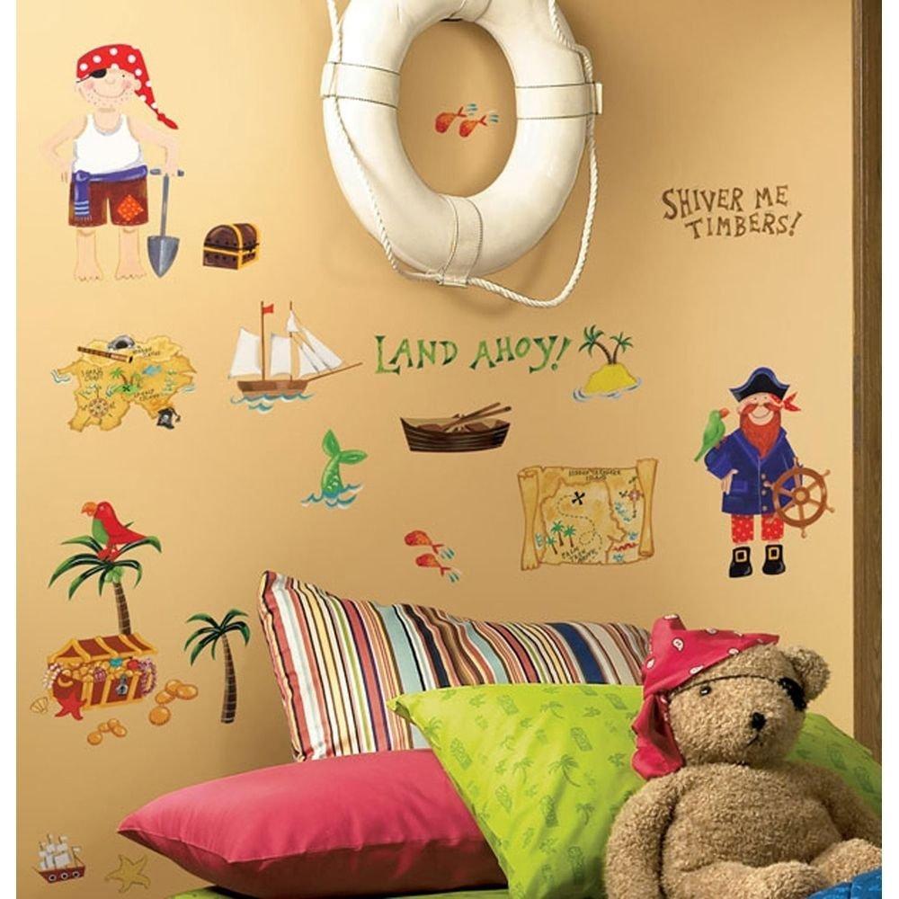 Buy 45 New TREASURE HUNT WALL DECALS Pirates Bedroom Stickers Kids ...