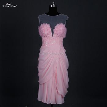 33e7d4743 Rse677 Chiffon Design Peach Color Sexy Smart Evening Dresses Short ...