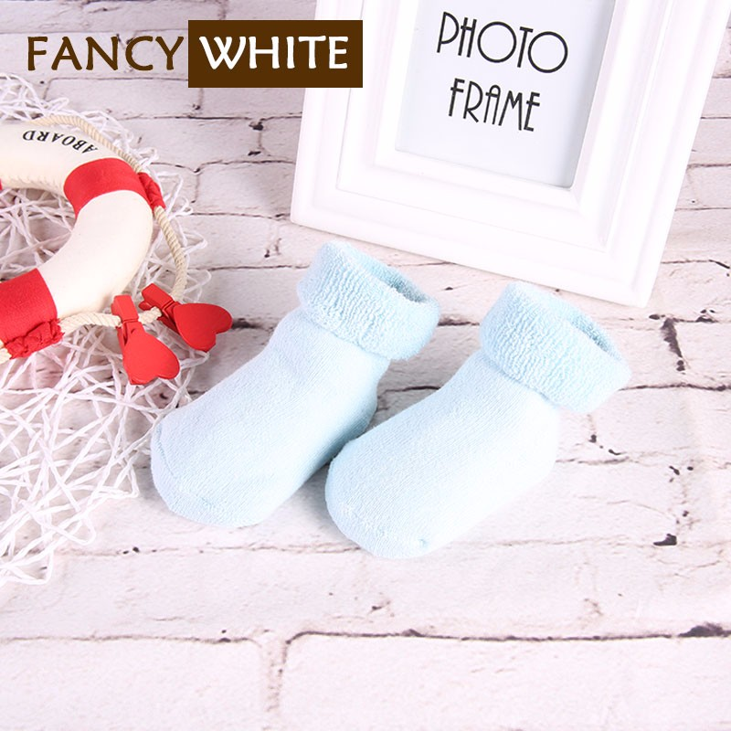 Anti-bacterial solid plain colored infant baby cheap knitted fluffy stock socks