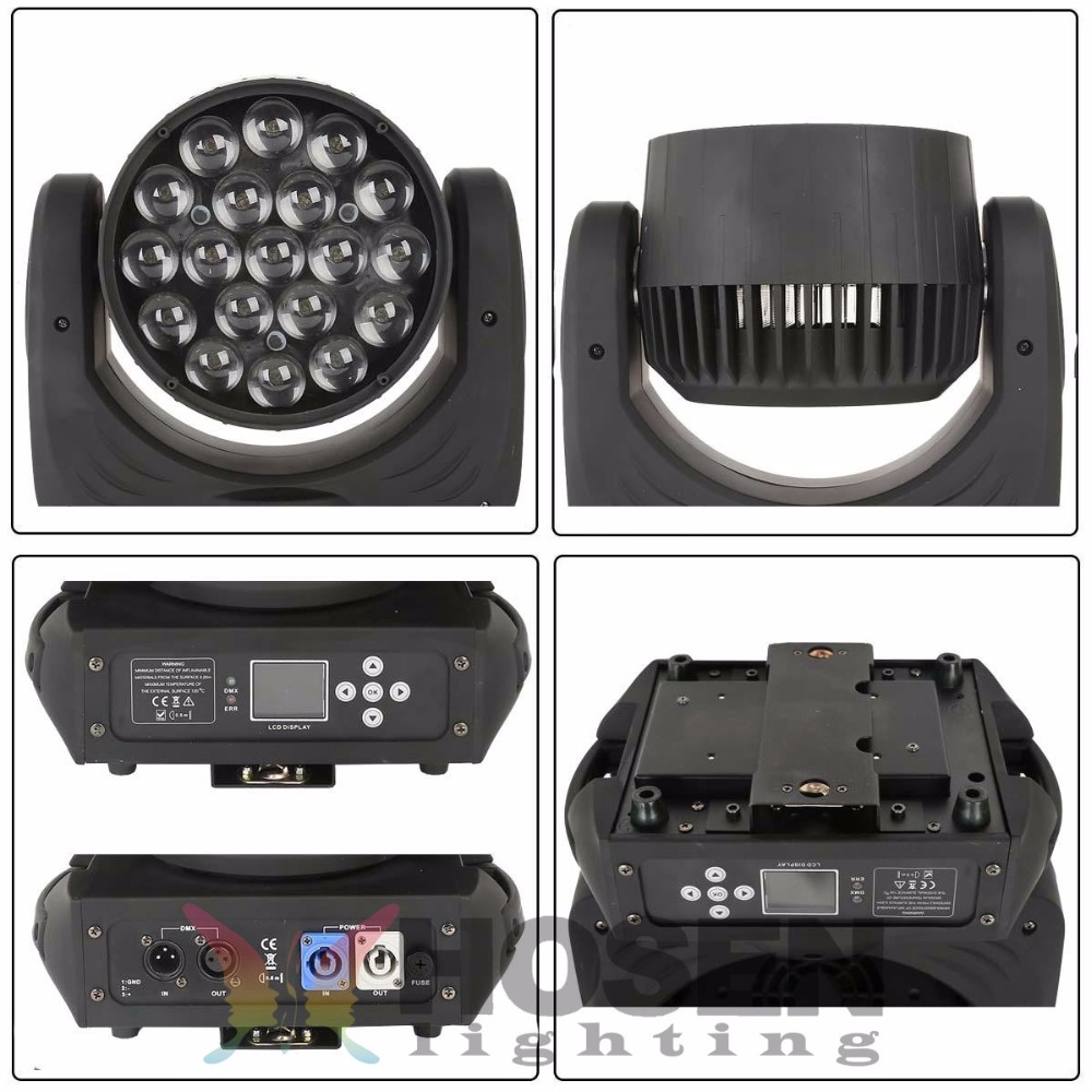 19X12W RGBW 4in1 Zoom led moving head with ring effect