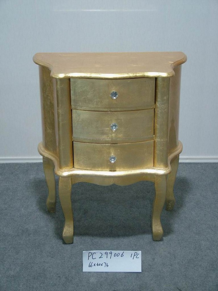 Continental simple wooden golden table with three drawers