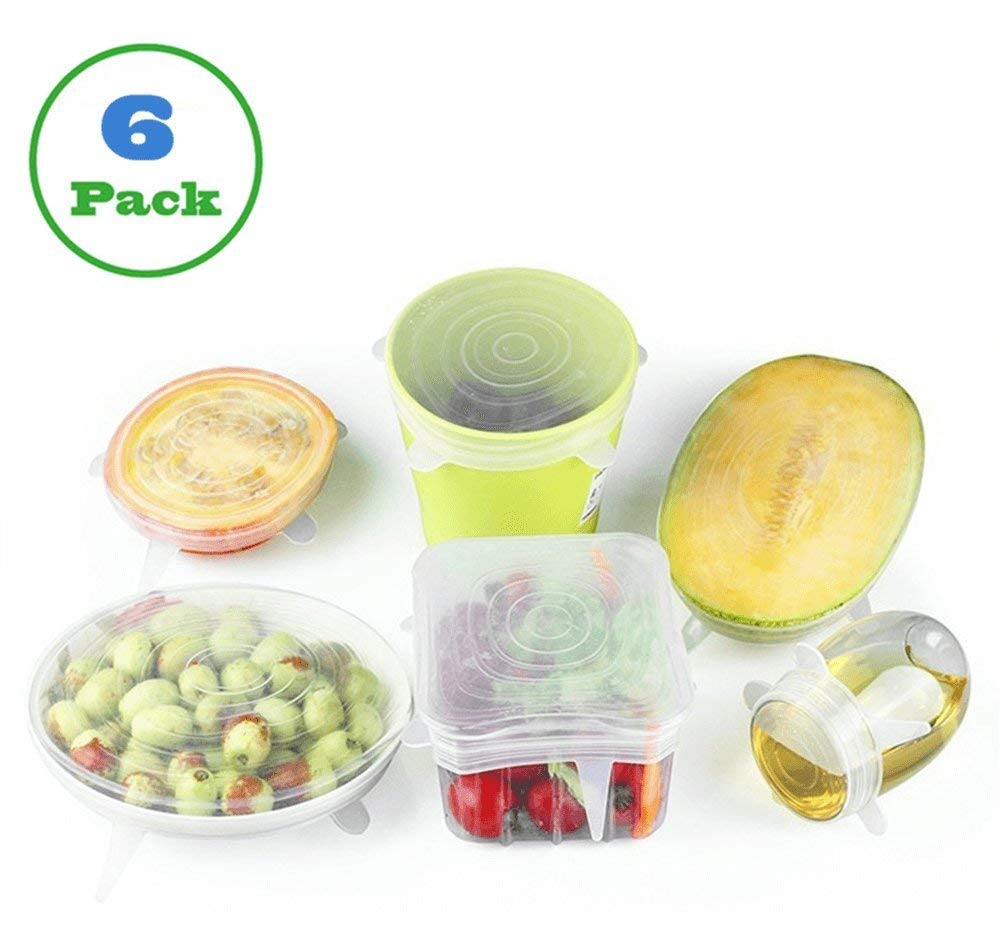 Silicone Stretch Lids, CEISPOB Reusable Lids Food and Bowl Covers, 6 Pack of Various Sizes (2.6''- 8.3''), BPA Free, Microwave, Dishwasher Safe