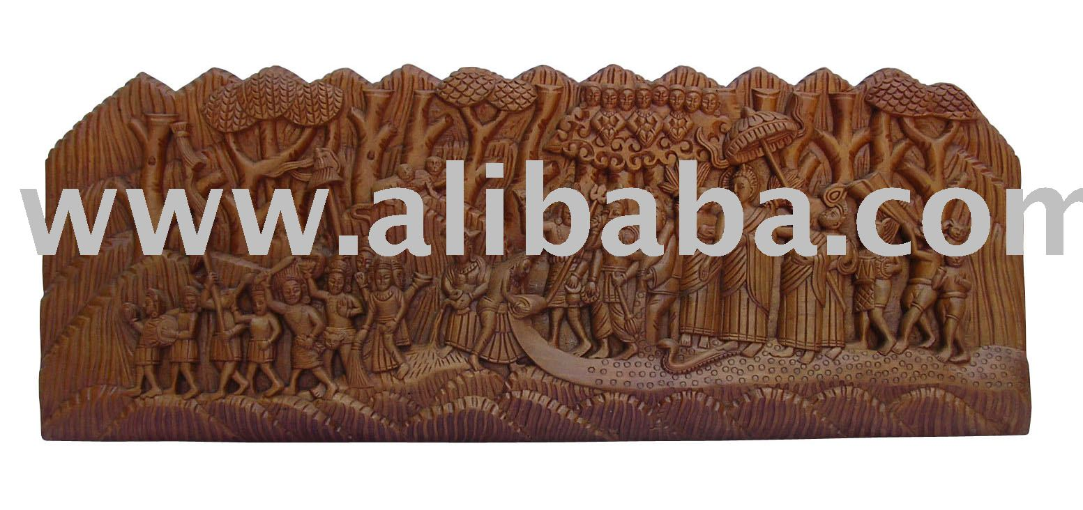 Wooden Carved Buddha Story Panel