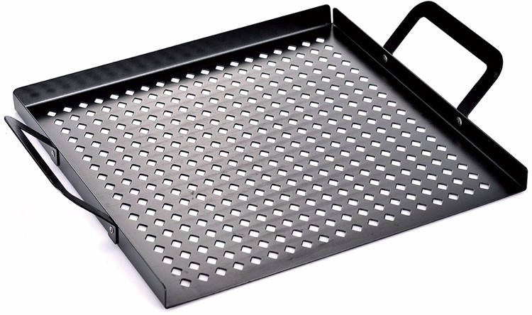 Non Stick Ribbed Fry Pan Perforated Pan For Bbq Grill