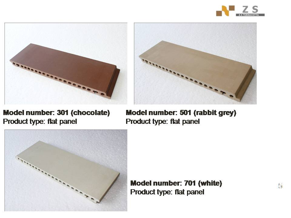 Grey Terracotta building facade panel ,exterior silding wall panels terracotta, exterior wall decorative brick cladding tiles