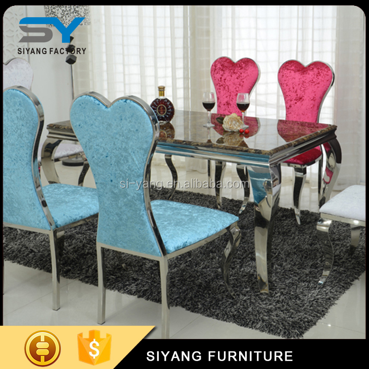 European style furniture large dining table designs with heart-shaped chairs CT003