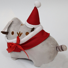 2 Christmas Cos Santa Claus New Cartoon Pusheen & Eevee the Cat Plush Toys Lovely Animal Smile Cat Plush Keyring Doll Kids Gift