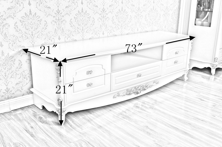 Classic White Wood TV Table Cheap Living Room TV Stands EU Luxury Table