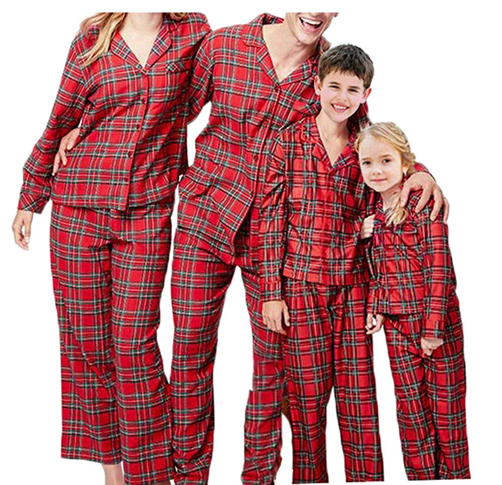 Get Quotations · Christmas Family Matching Pajamas PJs Set Plaid Christmas  Pajama Set for Family 563daad98