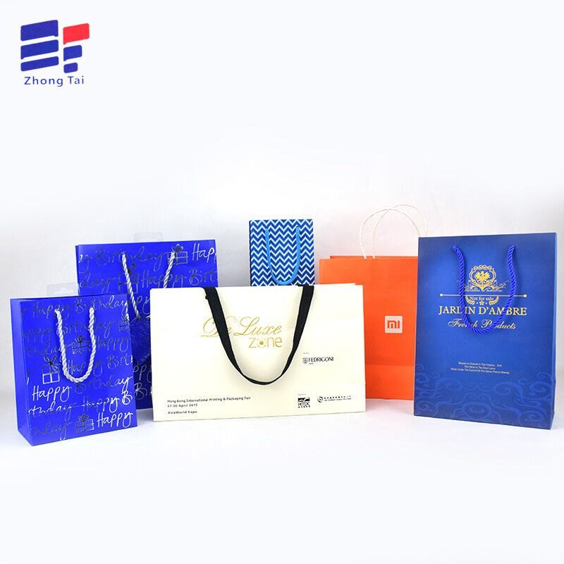 Custom colorful craft paper clothes party bag for apparel