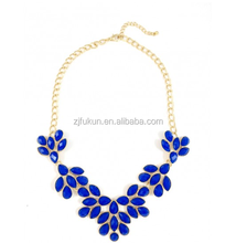 2017 newest cobalt dripping stone petals bib statement necklace