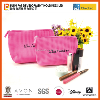 wholesale waffle weave cosmetic bag beauty case