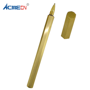 ACMECN Handmade Hexagon Liquid ink Pen Antique Classic Stationery for Business Gifts 0.5mm Brass Gold Gel ink Pen