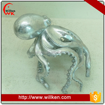 Resin silver octopus decoration figurine decor