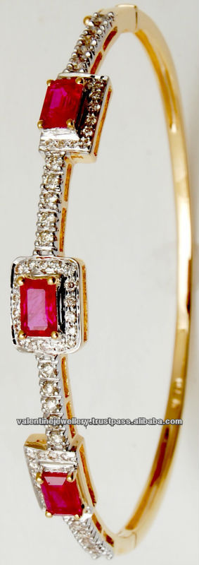 Diamond Gold Ruby Bracelet Cushion Cut Design 18k Real Women