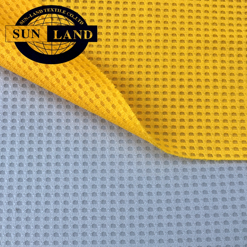 75D+30D knit sportswear 100% polyester waffle checks fabric
