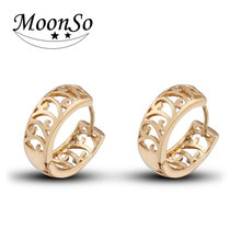 fashion cheap rose gold plated round copper earrings without stone KE2305 MOONSO