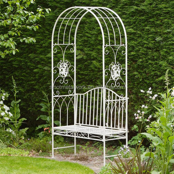 Wrought Iron Rose Arch Metal Garden Flower Arch Design Metal Garden Arbor  With Seat