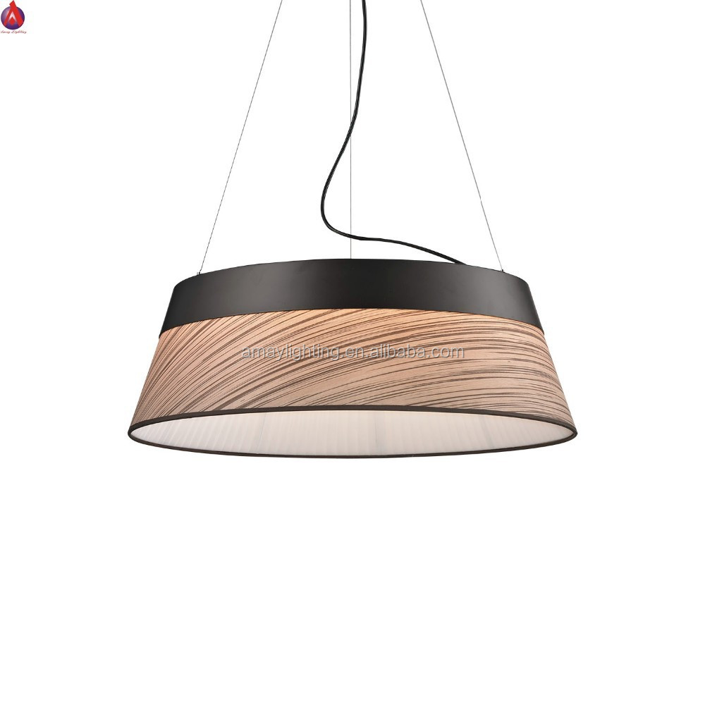 Contemporary Pendant Light With Black Painting And Tiger Wood ...