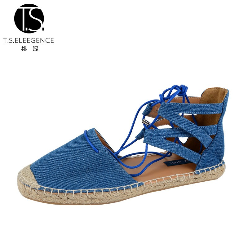 Brilliant New Model Jeans Denim Fabric Round Toe Lace up Rubber Sole Women Sandals Shoes