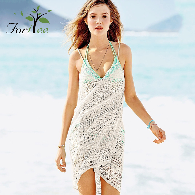 Women sexy cotton knit white sheer lace summer Bikini cover up beach wrap dress