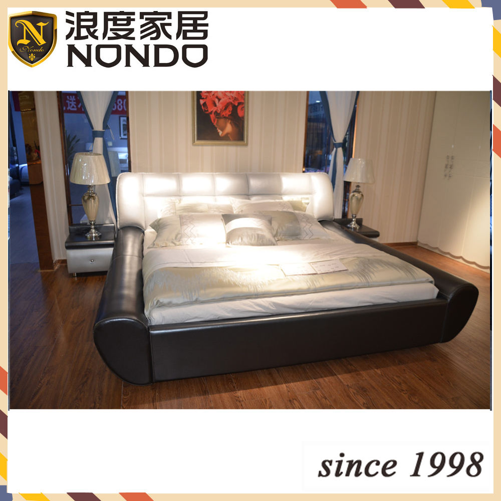 white and dark blue ITALIAN Leather modern sofa bed DR350